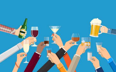 Hands-Gruppe, die Gläser mit Wein, Wodka, Tequila, Spirituosen, Champagner, Whisky, Bier und Cognac-Getränken hält. Feier Zeremonie, Feiertage. Vektor-Illustration im flachen Stil