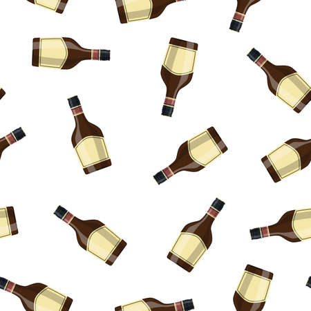 Bottle of grass liquor . Grass liquor alcohol drink. Seamless Repeat Pattern Background illustration in flat style