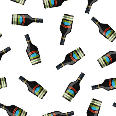 Bottle of chocolate coffee cream liquor. Liquor alcohol drink. Seamless Repeat Pattern Background vector illustration in flat style