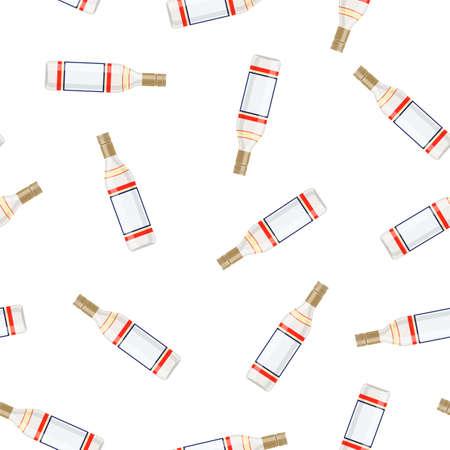 Bottle of vodka Vodka alcohol drink. Seamless Repeat Pattern Background. vector illustration in flat style Stockfoto - 125570437