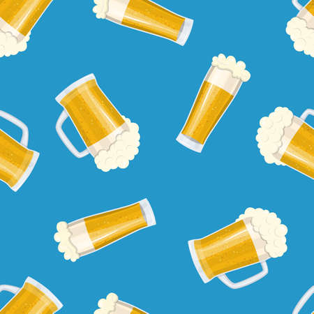 Seamless pattern mug of beer. Bar card. Alcohol party background. Pint beer. Beer poster. Vector illustration in flat style Illustration