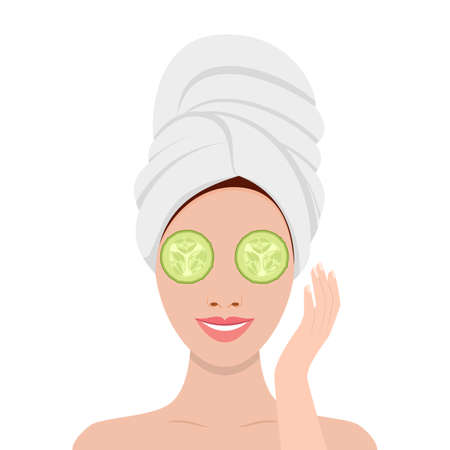 woman with mask of cucumber on her eyes
