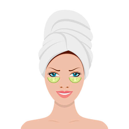 Beautiful young appearance woman in towel on head and slices cucumber on her face. Health and beauty spa treatment. Vector illustration in flat style