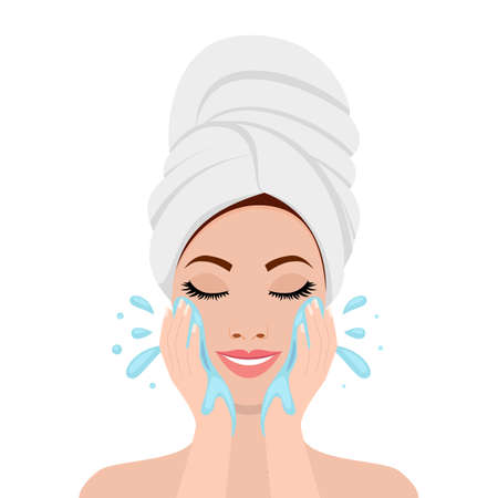 Beautiful woman in process of washing face. icon isolated on white background. SPA beauty and health concept. Vector illustration in flat style Vectores