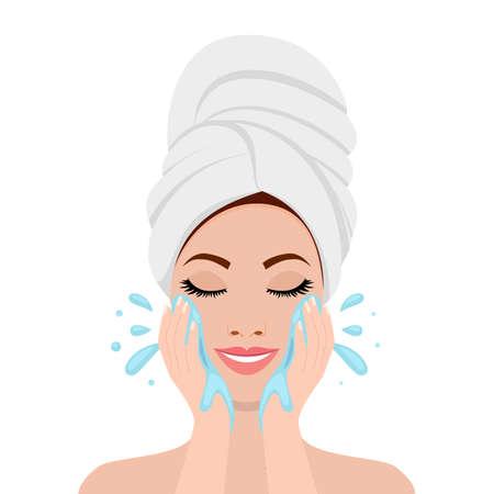 Bella donna in fase di lavaggio del viso. icona isolato su priorità bassa bianca. Concetto di bellezza e salute SPA. Illustrazione vettoriale in stile piatto Vettoriali