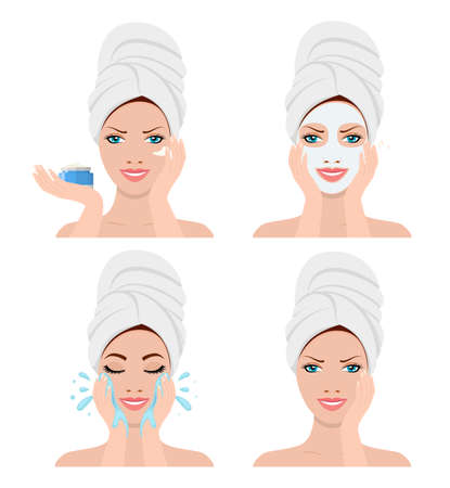 Beautiful woman in process showing four steps for washing face. SPA beauty and health concept. Vector illustration in flat style