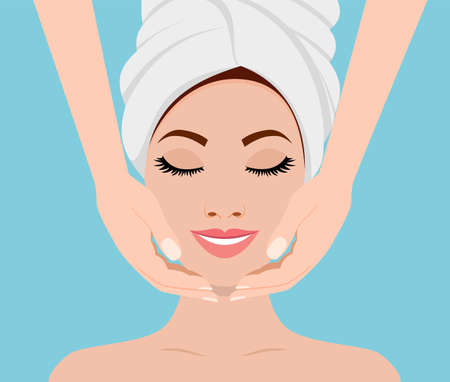 Face massage. Spa skin and body care. Close-up of young woman getting spa massage treatment at beauty spa salon. SPA beauty and health concept. Vector illustration in flat style