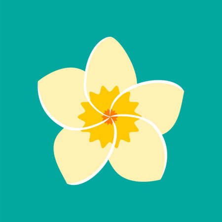 Frangipani flower icon. Vector illustration in flat style