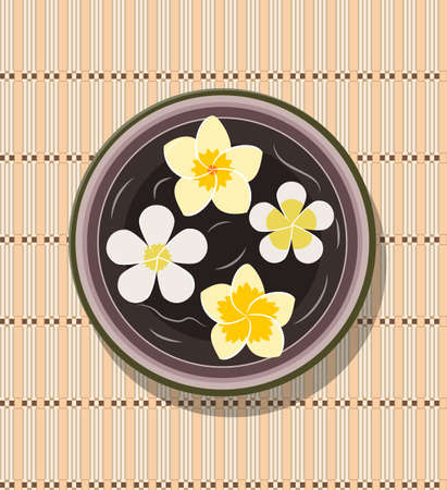 bowl with four frangipani, Plumeria flower floating in water for Spa salon. Vector illustration in flat style