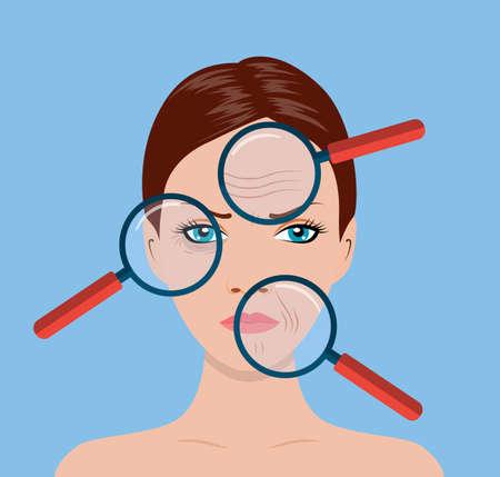 Lupe, die die Gesichtsbehandlung der Frau vergrößert, um Falten um ihren Gesichtsbereich zu finden. SPA Schönheits- und Gesundheitskonzept. Vektorillustration im flachen Stil