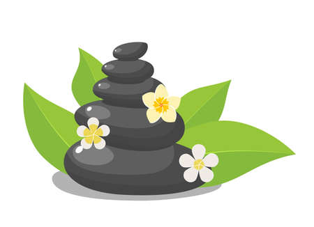 Stack black hot stones with leaves and flower, spa salon accessory. Stack basalt stones for hot stone massage in spa salon. Vector illustration in flat style Stock Illustratie