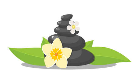 Stack black hot stones with leaves, spa salon accessory. Stack basalt stones for hot stone massage in spa salon. Vector illustration in flat style