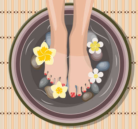 Female feet at spa pedicure procedure. Legs, flowers and ceramic bowl. SPA beauty and health concept. Vector illustration in flat style