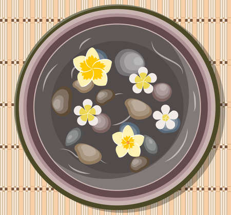 bowl with four frangipani, Plumeria flower floating and basalt stones for massage in water for Spa salon. spa salon accessory Vector illustration in flat style