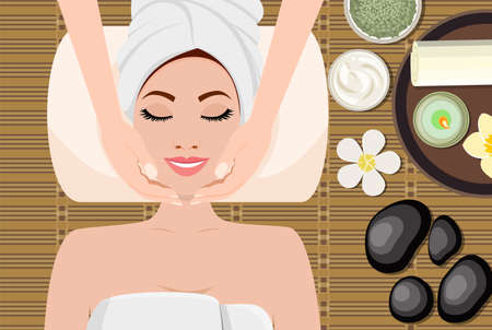 young beautiful woman in spa. Woman getting spa treatment. Girl resting, relaxing. Clean skin, healthy fresh face massage. SPA beauty and health concept. Vector illustration in flat style