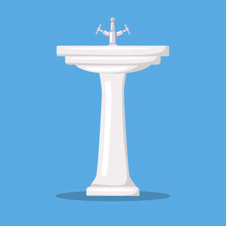 Home sink. Furniture for toilet, bathroom and kitchen. Icon ceramic white sink with a tap. Vector illustration in flat style