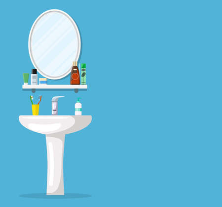 Bathroom sink with mirror, cosmetic bottles, jar of cream, liquid soap, toothpaste and toothbrush. Part of bathroom interior. Vector illustration in flat style Illustration