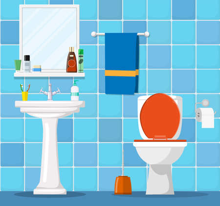 Bathroom interior with toilet bowl, washbasin and mirror. Vector illustration in flat style
