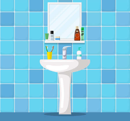 Bathroom sink with mirror, cosmetic bottles, jar of cream, liquid soap, toothpaste and toothbrush. Part of bathroom interior. Vector illustration in flat style Ilustração
