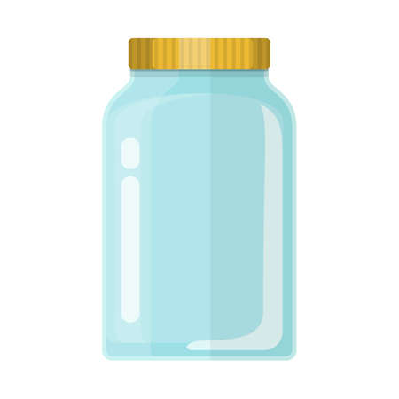 Empty glass transparent jar with gold lid. Vector illustration in flat style