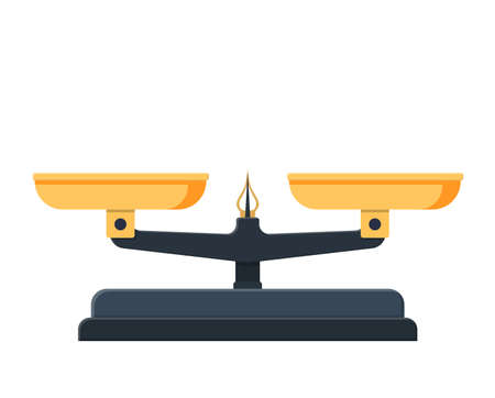 Two pan balance icon. Weighing scale with golden pans and pointer and gray base. Vector illustration in flat style