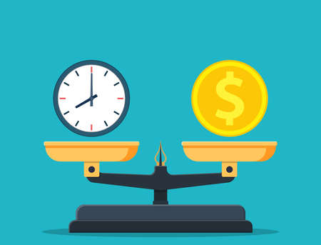 Time is money on scales icon. Money and time balance on scale. Weights with clock and money coin. Vector illustration in flat style Ilustracja