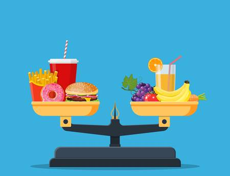 Concept of weight loss, healthy lifestyles, diet, proper nutrition. Vegetables and fast food on scales. Vector illustration in flat style