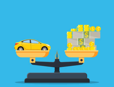 Scales with car and money. Cars, prices, market, investment concept. Vector illustration in flat style