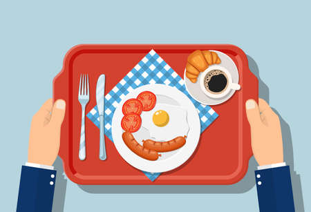 Top view of breakfast on plastic tray. Appetizing delicious breakfast coffee, fried egg with sausage, croissant Vektorgrafik