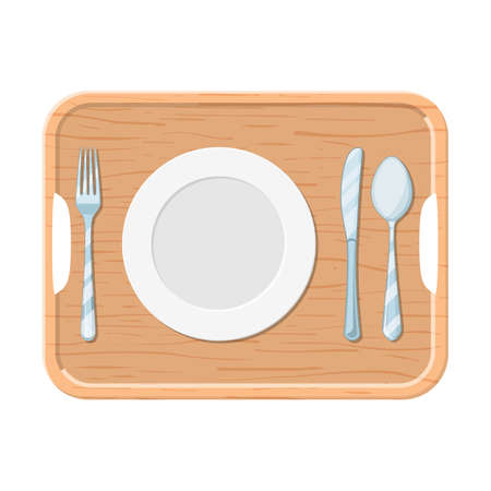 A wooden tray with iron plate knife and fork isolated white, top view