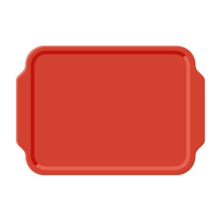 Top view of empty plastic tray, isolated on white background. Vector illustration in flat style
