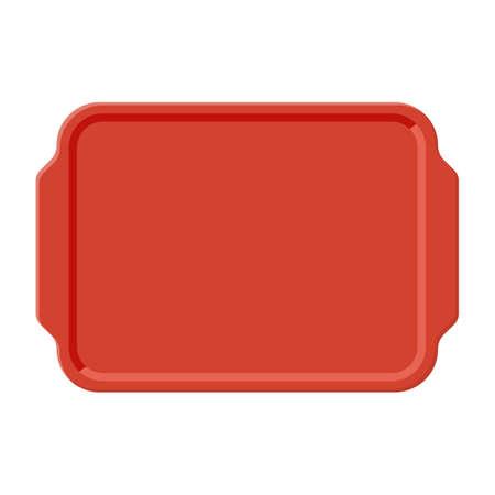 Vista dall'alto del vassoio di plastica vuoto, isolato su sfondo bianco. Illustrazione vettoriale in stile piatto