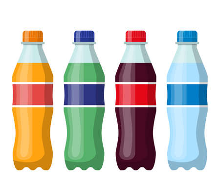 Plastic beverage bottles icon set. Cola, orange soda, water and green iced tea. Bottled cold drinks. Vector illustration in flat style  イラスト・ベクター素材