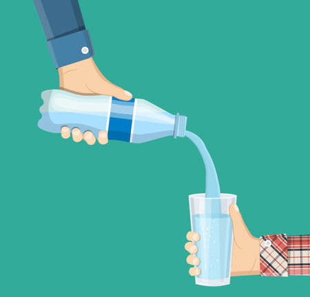 Human is picking up a glass of water from a plastic bottle. A cool mineral natural drink. Glass and bottle holding in hand. Vector illustration in flat style