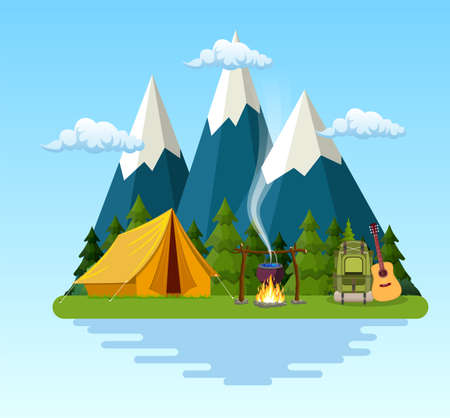 tent, campfire, mountains, forest and water. Background for summer camp, nature tourism, camping or hiking design concept. Vector illustration in flat style