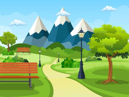 Summer, spring day park Vector Illustration