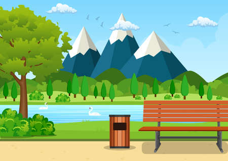 Summer, spring day park vector illustration. Wooden bench, trash bin and street lamp in park trail with lush green trees, bushes and mountains in the background. Vector illustration in flat style Vector Illustration