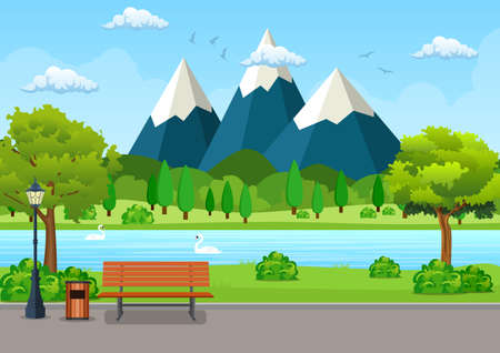 Summer, spring day park. Wooden bench, trash bin and street lamp on an asphalt park trail with lush green trees, bushes, lake and mountains. vector illustration in flat style