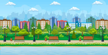 City park and pond, wooden bench, street lamp, waste bin in square. Cityscape with buildings and trees. Sky with clouds and sun. Leisure time in summer city park. Vector illustration in flat style Illustration