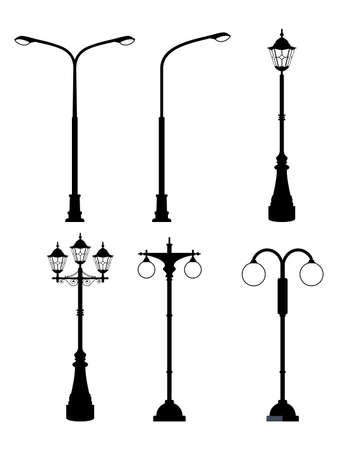 Old street lamps set in monochrome style. illustrations isolate. Urban lantern streetlight classic. Vector illustration in flat style