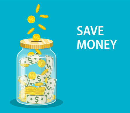 Money Jar. Saving dollar coin in jar.Save your money concept. Vector illustration in flat style 免版税图像 - 124083816