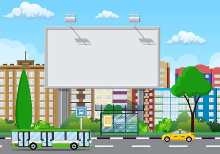 Grand panneau urbain vide ou panneau d'affichage avec lampe. Maquette vierge. Commercialisation et publicité. Fond de paysage urbain avec des bâtiments, du ciel et des nuages. Illustration vectorielle dans un style plat