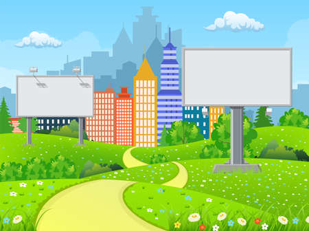 Empty urban big board or billboard with lamp. Blank mockup. Marketing and advertisement. Cityscape background with buildings, sky and clouds. Vector illustration in flat style