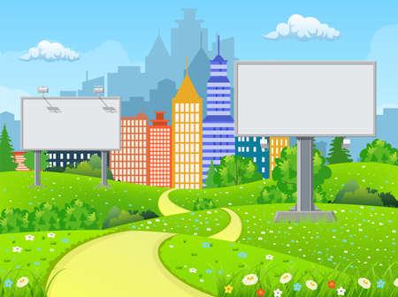 Leere städtische Big Board oder Anschlagtafel mit Lampe. Leeres Modell. Marketing und Werbung. Stadtbildhintergrund mit Gebäuden, Himmel und Wolken. Vektorillustration im flachen Stil