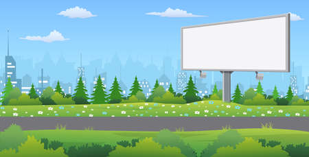 Billboard on the road. Road outside the city. Landscape. Nature and the city. Vector illustration in flat style