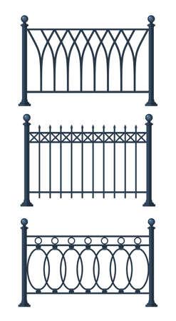 Black forged lattice fence. vector illustration isolated on white background. Vector illustration in flat style Standard-Bild - 124062822
