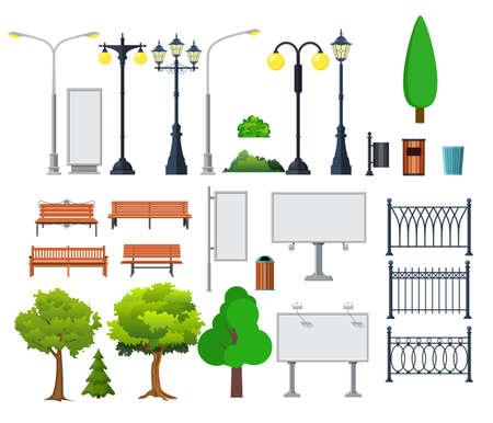 Stads- en buitenelementen. Lantaarnpaal en container, struik en uithangborden. Vectorillustratie in vlakke stijl
