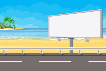 Billboard on the road. Empty urban big board or billboard with lamp. Blank mockup. Marketing and advertisement. Vector illustration in flat style