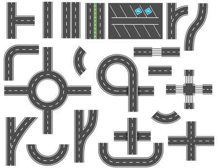 Elementi di design di strade asfaltate per la mappa della città. Strada e strada con sentieri e incroci. elementi per la mappa della città. Strade di traffico del percorso dell'asfalto dell'autostrada. Illustrazione vettoriale in stile piatto