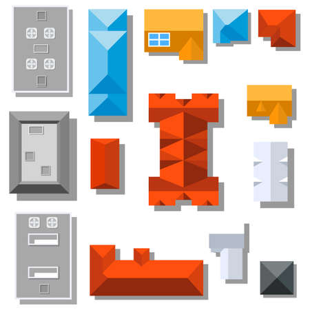 Set of landscape elements Houses. City Top view. Vector illustration in flat style